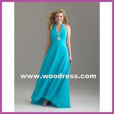 elegant long gown chiffon turquoise plus size prom dresses Style 6520W