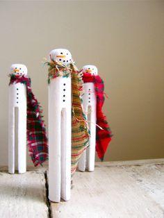 clothespin snowman - Google Search