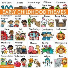 Early Childhood Themes. Thematic units for teaching preschool and kindergarten. Includes book recommendations, hands-on math and literacy activities, free printables and more!