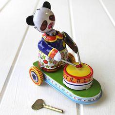 Vintage drumming panda