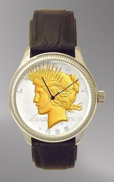 Peace Silver Dollar Mens Coin Watch With AureTone Coin and Leather Strap