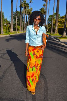 Style Pantry   Striped Button Up Shirt + Tribal Maxi Skirt