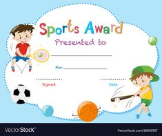 Certificate Template With Two Boys Playing Sports Vector Image in Athletic Certificate Template - Professional Templates Ideas Sports Day Certificates, Award Certificates, Baby Dedication Certificate, Sports Templates, Templates Free, Certificate Design Template, Sports Awards, Letter A Crafts, Business Plan Template