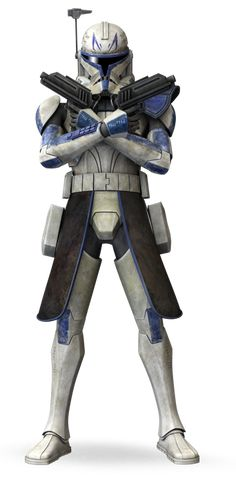 Clone Captain Rex served the Republic during the Clone Wars, often taking orders from Anakin Skywalker and Ahsoka Tano. He viewed military service as an honor, and he always completed his mission. Fond of using two blaster pistols at the same time, Rex customized his armor with distinctive blue markings.