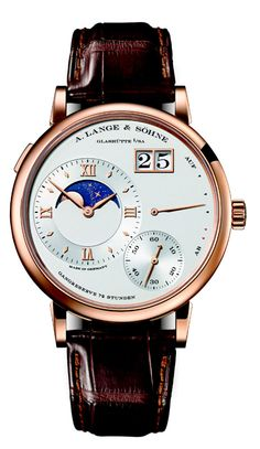 A. Lange & Söhne Grand Lange 1 Moonphase. Unveiled at SIHH 2103, It provides a proof of how closely the moon-phase display tracks the actual orbit of our planet's satellite. This is because the display is connected with the hour-wheel continuum. As a result, it is constantly in motion, just like the moon itself. The increments are so small they cannot be detected by the naked eye.