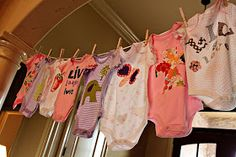 Have guests make their own baby onesies at a shower using iron on fabrics and stencils