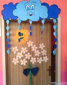 Cloudy Classroom Door Ornament CLASS ORNAMENTS - It is the center of sharing all kinds of activities about preschool education in which all aspects - Kids Crafts, Preschool Activities, Diy And Crafts, Arts And Crafts, Paper Crafts, Decoration Creche, Class Decoration, School Decorations, Preschool Education