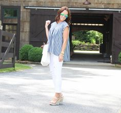 Stripes, stripe top, white denim, wedge sandals, wedges, white tote, Summer fashion, Summer outfit, Mountains