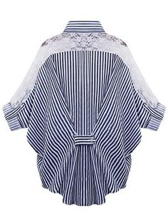 Plus Size Stripe Lace Patchwork Bat Sleeve Women Blouse Style:Casual Material:Polyester,Lace Neckline:Turn-down Collar Pattern Type:Stripe Embellishment:Lace Package Included: Blouse Styles, Blouse Designs, Sewing Blouses, Top Pattern, Collar Pattern, Plus Size Blouses, Ladies Dress Design, Blouses For Women, Ladies Blouses