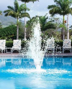 in pool floating fountain #PoolLandscaping #PoolLandscape