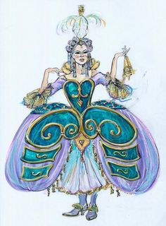 "<p>Ann Hould-Ward's sketch design for the wardrobe in Disney's ""Beauty and the Beast."" [photo provided]</p>"