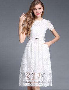 Retro Lace Short Sleeves Formal Dress