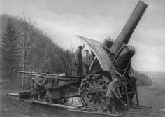 """Krupp 420mm Howitzer, a German """"FORT-BUSTING"""" BIG GUN, which had been in """"top-secret"""" development up to the moment of deployment against Belgian Fortresses."""