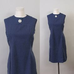 1960's shift dress in navy blue and swiss dot by SepiaVintage, $28.00