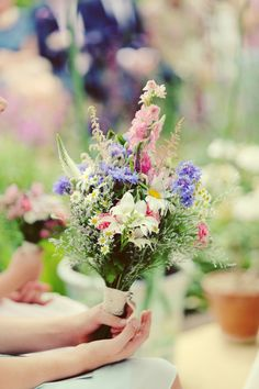 Vintage Gathering Wedding Flowers: Flower Girl Wedding Posy of English Cottage Garden Flowers