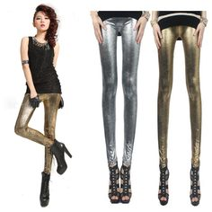 Golden Cotton Snake Pattern Women Tight Leggings CL0238 $11.9