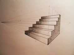 Stairs, draw two, 2 point perspective drawing, high school drawing, landsca 2 Point Perspective Drawing, Perspective Art, How To Draw Stairs, Architecture Drawing Sketchbooks, Shading Drawing, Stair Drawing, Stair Art, Draw Two, Stairs Architecture