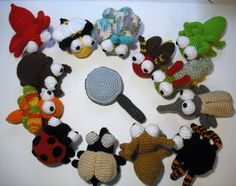 These are all the bugs from the Amination patterns along with a magnifying glass that I crocheted from my own pattern.