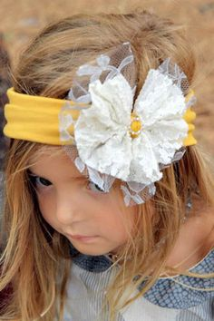Handmade Vintage Yellow Headband with Ivory and Silver Lace Bow- with measurements