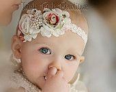 Headband, flower headband, baby headband, shabby chic roses headband - petti lace romper All sizes many colors