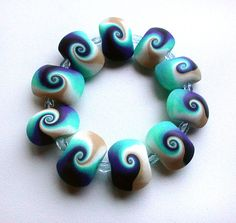 Blue Swirls Bracelet by SilviaOrtizDeLaTorre on Etsy,