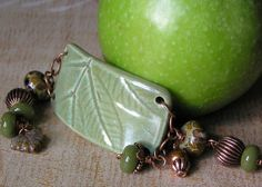 Cuff Bracelet Ceramic Leaf Lampwork Glass Bead Copper Green Brown Boho Jewelry via Etsy