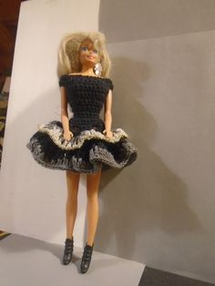 Black, grey and gold - elegant crocheted Barbie dress