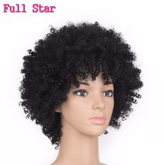 """Full Star 6"""" 120g Afro Kinky Curly wigs Synthetic Short Natural Black wig High Temperature Fiber No Lace Hair for black women"""