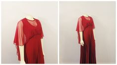 Vintage Dress 60s 70s Burgundy Red Chiffon Cape Gown Accordian Pleated Grand Sweep Skirt Modern Size Large to Extra Large