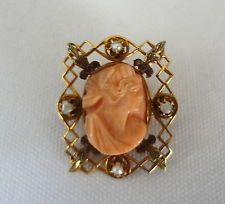 ANTIQUE 10K YELLOW GOLD SHELL CAMEO FEMALE SILHOUETTE PIN PENDANT W/ SEED PEARLS