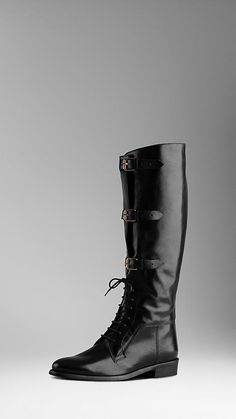 Burberry Lace Up Equestrian Leather Boots