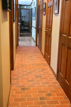Traditional Antique brick tile hallway floor, Marietta color mix.
