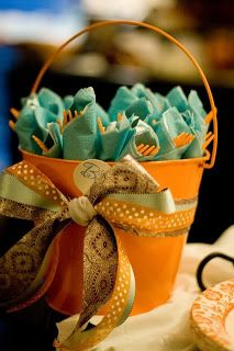 pumpkin baby shower | ... ribbons. For a sports themed shower you could paint mini basketballs