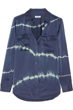 Equipment - Slim Signature Tie-dyed Washed-silk Shirt - Storm blue