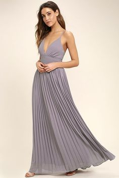 Deeper than the deep blue sea and the Grand Canyon combined ... that's how deep our love for the Depths of My Love Light Purple Maxi Dress is! Elegant chiffon, in a light and dusty purple hue, shapes a triangle bodice and sultry V neckline supported by crisscrossing, adjustable spaghetti straps. The fitted, pintucked waistline accentuates your figure before flowing into an accordion pleated maxi skirt. Hidden back zipper and clasp.