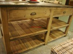 Reclaimed Pine Wood Kitchen Island with Blue Stone Top | eBay