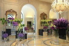 Our Lobby with some wonderful purple flowers... Welcome to Four Seasons Hotel George V !!Paris