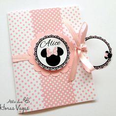 Convite Aniversário Artesanal com tag - Loja de Laços da Minnie Mouse Poá Rosa