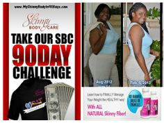 I restarted my 90 Days Challenge on 1/6/14 and am down 10 pounds thus far. I'm striving fo 30 pounds in 90 Days with the SBC 90 Day Challenge. JOIN me on the 90 Day Challenge.... Top 3 people that lose the most weight wins $1000. Everyone that completes the challenge gets a FREE Tshirt.   Join NOW => http://www.MySkinnyBodyIn90Days.com
