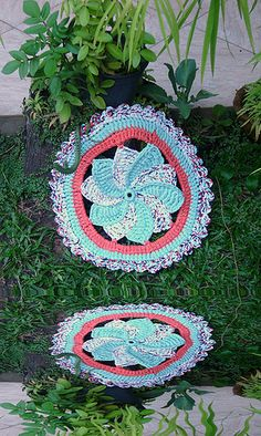 Tapete Catavento de Trapilhos, Crochet Rag Rug