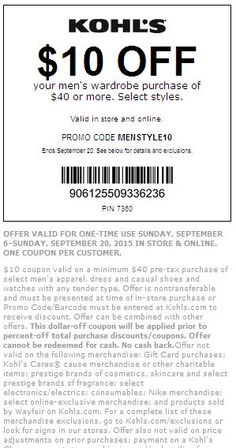 f1d917080 Kohls 30 Off Coupon Code · #Kohls Get $10 off $40 Men's Wardrobe Purchase.  Select Styles. Exclusions apply,