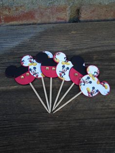 Mickey Mouse Cupcake Toppers set of 12 by LostInCraft on Etsy, $4.95