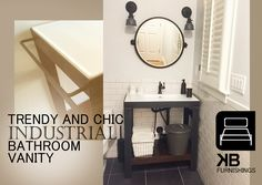 Steel modern vanity. This chic and modernvanity is ideal for small bathroom with limited space! Available in single or double sinks.