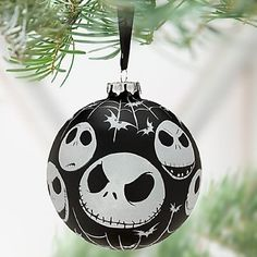 Disney Store Jack Skellington Ball Ornament Nightmare Before Christmas 2011 Nightmare Before Christmas Ornaments, Halloween Ornaments, Halloween Trees, Halloween Christmas, Xmas Ornaments, Christmas Themes, Christmas Crafts, Clear Ornaments, Painted Ornaments