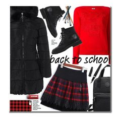 School by beebeely-look on Polyvore featuring Kenzo, Giuseppe Zanotti, Casetify, Fountain, BackToSchool, plaid, schoolstyle, sammydress and backpacks