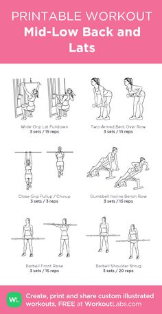 Mid-Low Back and Lats: my visual workout created at WorkoutLabs.com • Click through to customize and download as a FREE PDF! #customworkout Chest Workout Women, Gym Workout Plan For Women, Lat Workout, Workout Schedule, Fitness Style, Sport Fitness, Latissimus Training, Back And Shoulder Workout, Back And Bicep Workout