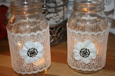 Rustic Wedding Decor  Mason Jars & Vintage Lace by TRIZIART, $17.99