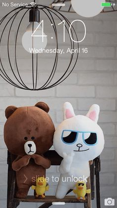 Always Sunny  It's always sunny everyday with LINE friends :) Get your sunglasses ready!  ★ In this screen ★ Lock screen:Brown and Cony under lamps