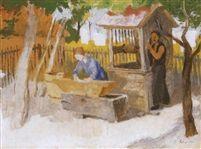 Arnyas zebegényi udvar (Shadowy yard in Zebegény) 1934 Tempera on Canvas 60 x 80 cm