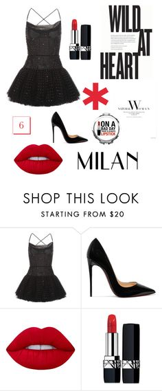 """""""Untitled #39"""" by filippaelvira ❤ liked on Polyvore featuring Valentino, Christian Louboutin, Lime Crime and Christian Dior"""